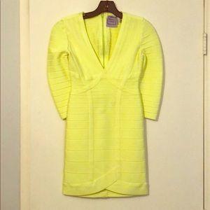 Neon yellow Herve Leger Dress